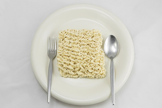 Ramen on Plate with Silverware - iStock