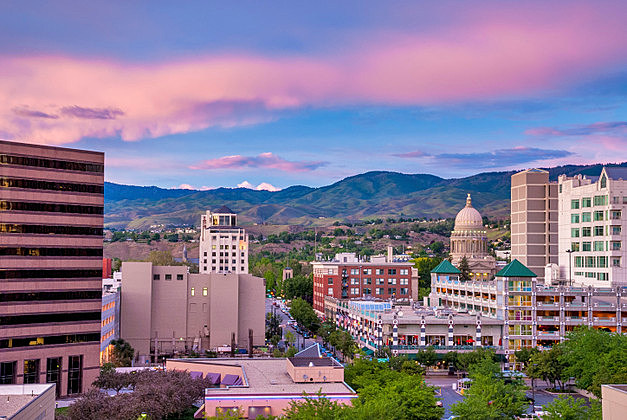 Downtown Boise Idaho just after sundown with Capital building