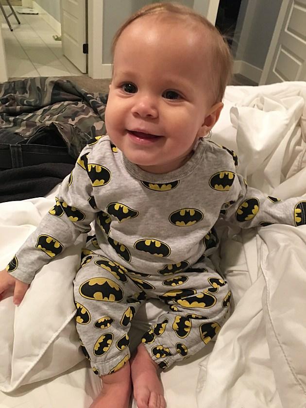 Lennox in his first Batman superhero pajamas.