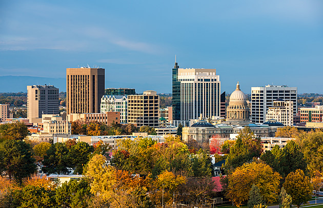 Autumn trees and the skyline of Boise Idaho