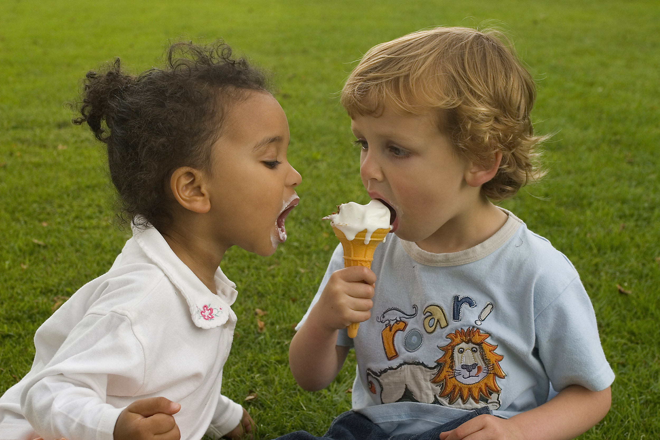 Two Young Children Sharing an Ice Cream