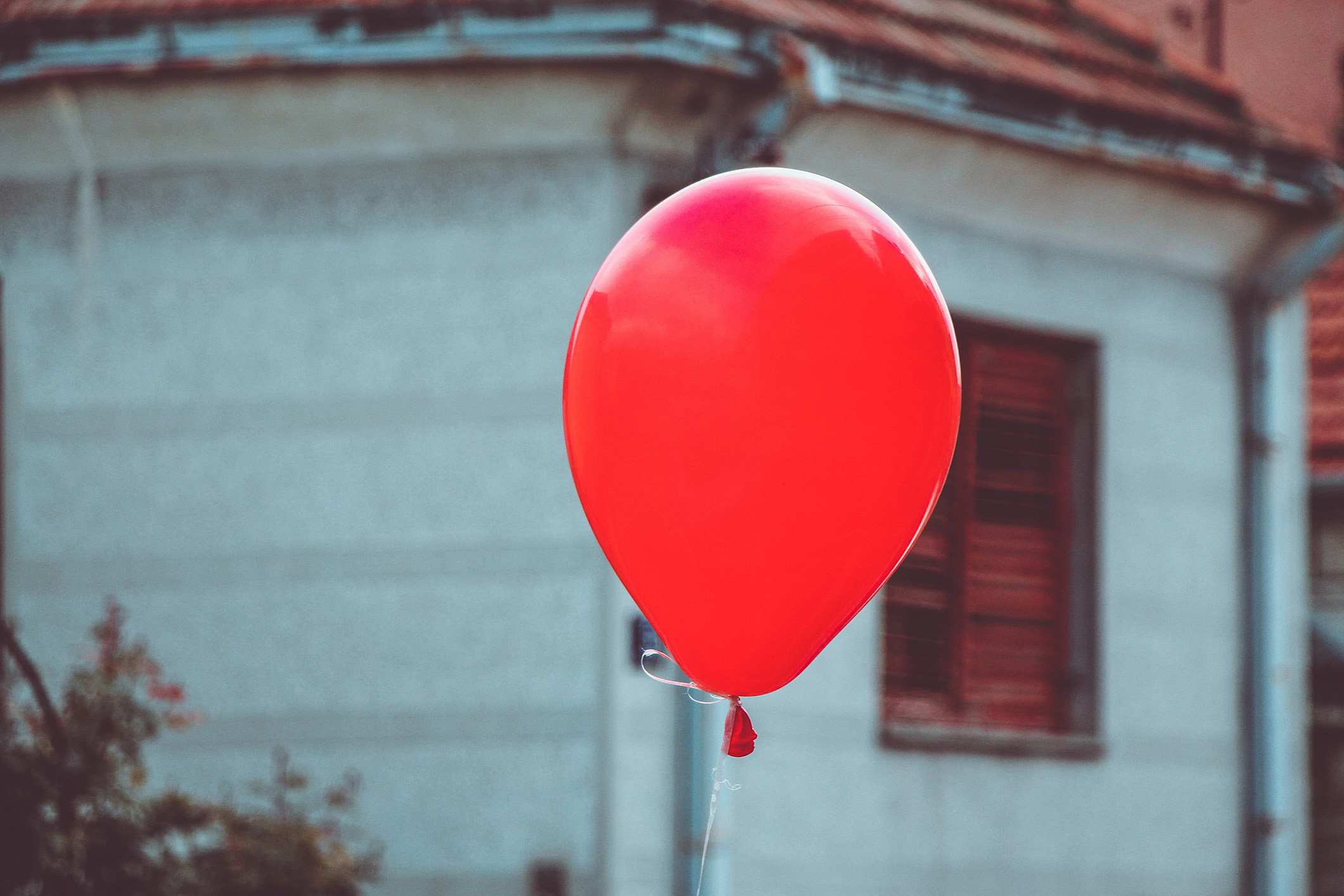 One red balloon on sunny day outdoor.